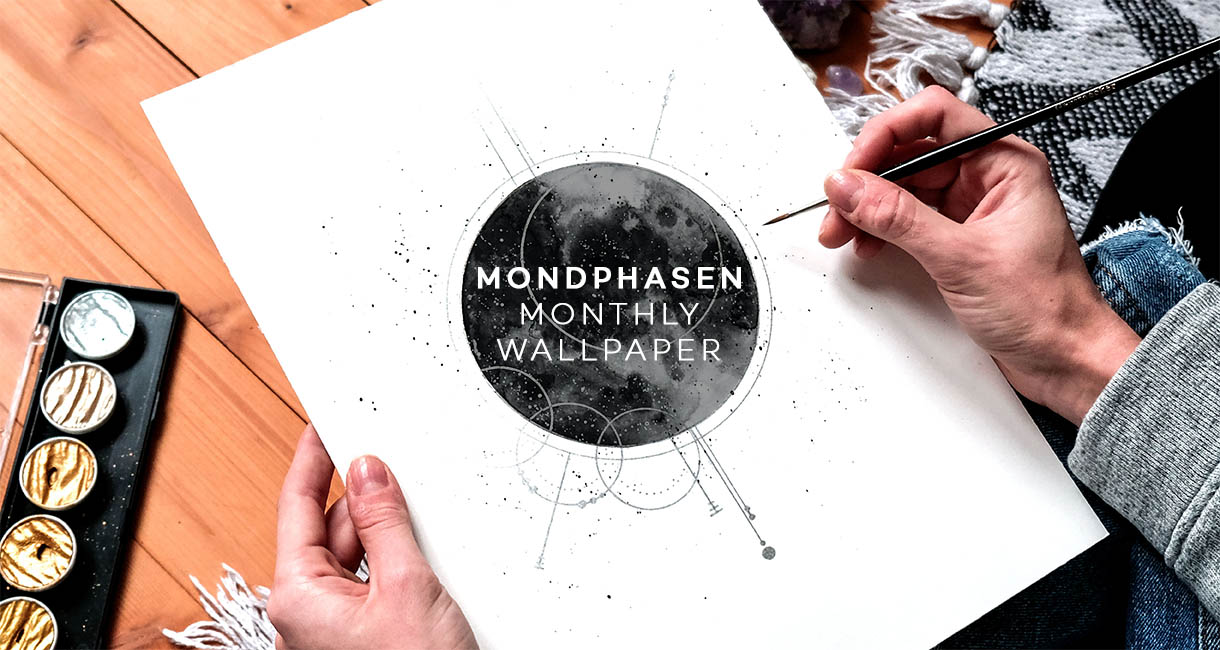 Mondphasen, Wallpaper, Aquarell, Illustration, Fine Art