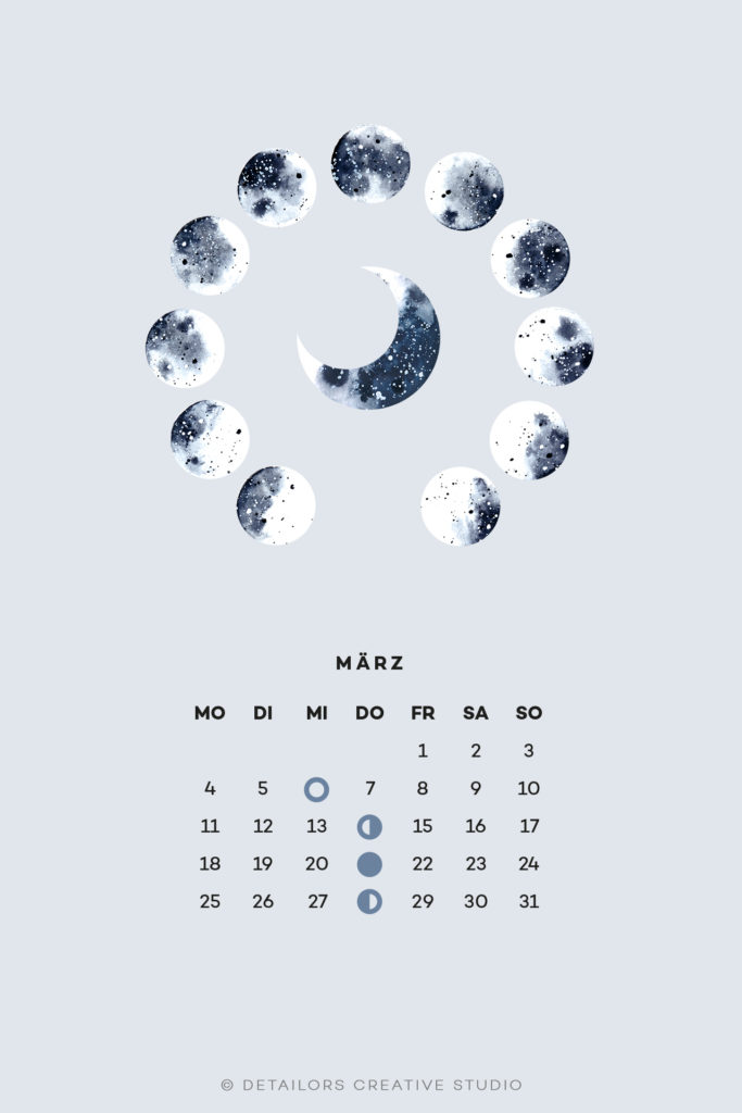 Freebie, Wallpaper, März, Mondphasen, Kalender, Mond, Aquarell, Illustration
